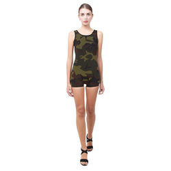 Camo Green Brown Classic One Piece Swimwear (Model S03)