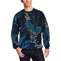 Floral design, blue colors All Over Print Crewneck Sweatshirt for Men (Model H18)