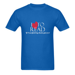 I Love to READ (Royal Blue) Men's T-Shirt in USA Size (Two Sides Printing)
