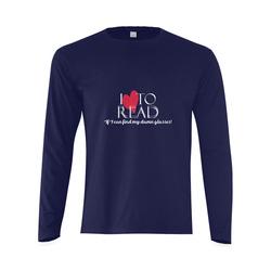 I Love to Read (Navy) Sunny Men's T-shirt (long-sleeve) (Model T08)