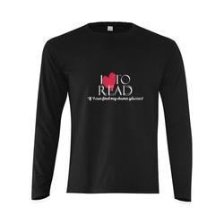 I Love to Read (Black) Sunny Men's T-shirt (long-sleeve) (Model T08)