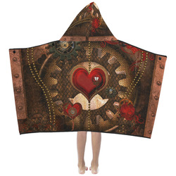 Steampunk, awesome herats with clocks and gears Kids' Hooded Bath Towels