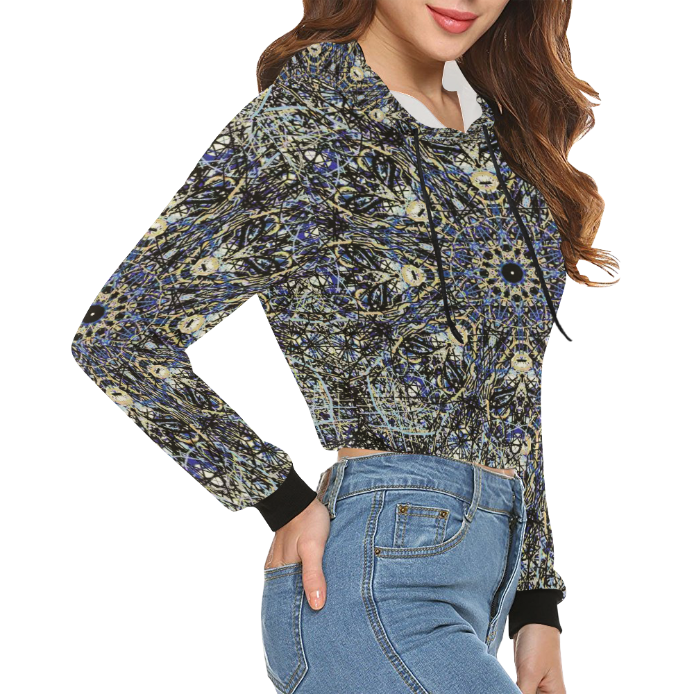 Thleudron Memory All Over Print Crop Hoodie for Women (Model H22)