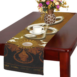 Music, decorative clef with floral elements Table Runner 14x72 inch