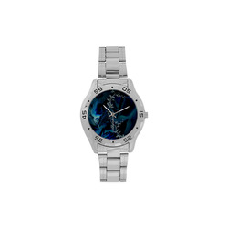 Floral design, blue colors Men's Stainless Steel Analog Watch(Model 108)