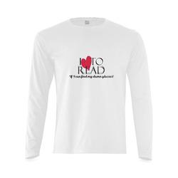 I Love to Read (White) Sunny Men's T-shirt (long-sleeve) (Model T08)