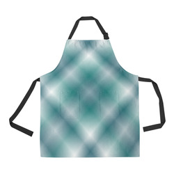 Turquoise and Green Tartan Plaid All Over Print Apron