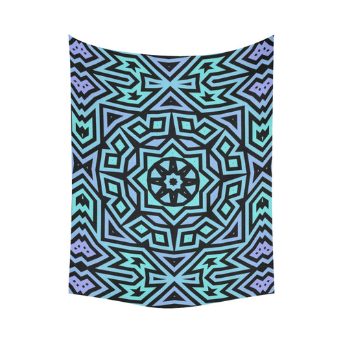 """Aqua and Lilac Tribal Cotton Linen Wall Tapestry 80""""x 60"""""""
