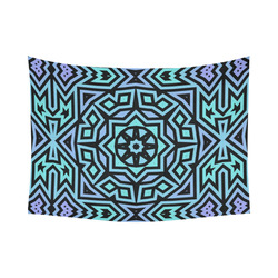 "Aqua and Lilac Tribal Cotton Linen Wall Tapestry 80""x 60"""