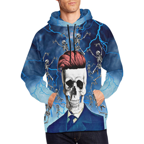 Skeleton Time All Over Print Hoodie for Men (USA Size) (Model H13)