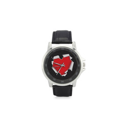 Torn Heart Unisex Stainless Steel Leather Strap Watch(Model 202)