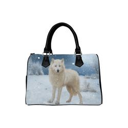 Awesome arctic wolf Boston Handbag (Model 1621)