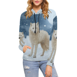 Awesome arctic wolf All Over Print Hoodie for Women (USA Size) (Model H13)
