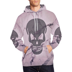 dotted skull on marble B All Over Print Hoodie for Men (USA Size) (Model H13)