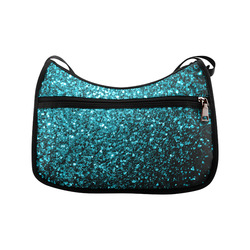 Beautiful Aqua blue glitter sparkles Crossbody Bags (Model 1616)