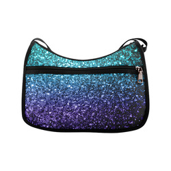 Beautiful Aqua blue Ombre glitter sparkles Crossbody Bags (Model 1616)
