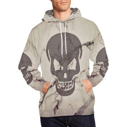 dotted skull on marble A All Over Print Hoodie for Men (USA Size) (Model H13)