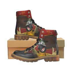 Funny parrot with summer hat Apache Round Toe Men's Winter Boots (Model 1402)