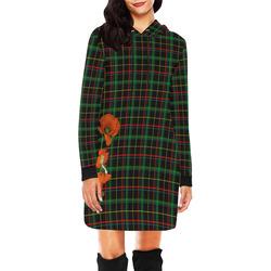 Poppy Elve On Tartan All Over Print Hoodie Mini Dress (Model H27)