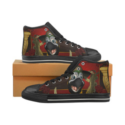 Funny parrot with summer hat Men's Classic High Top Canvas Shoes (Model 017)