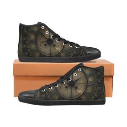 Steampunk, clockswork Men's High Top Canvas Shoes (Model 002)