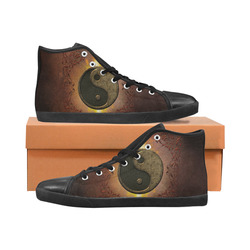 The sign ying and yang Men's High Top Canvas Shoes (Model 002)