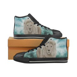 The white lion in the universe Men's Classic High Top Canvas Shoes (Model 017)