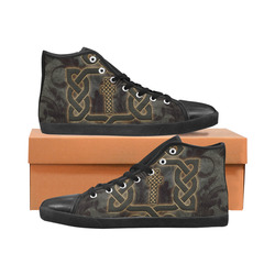 The celtic knot, rusty metal Women's High Top Canvas Shoes (Model 002)