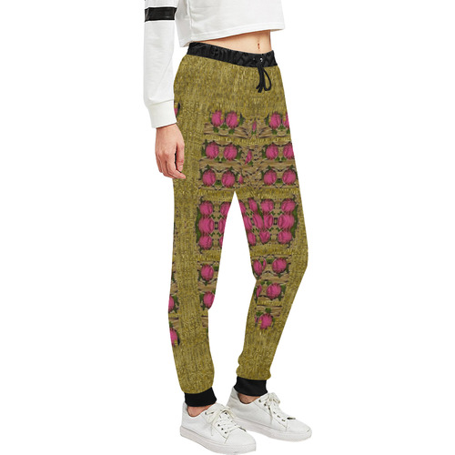 Bloom in gold shine and you shall be strong Women's All Over Print Sweatpants (Model L11)