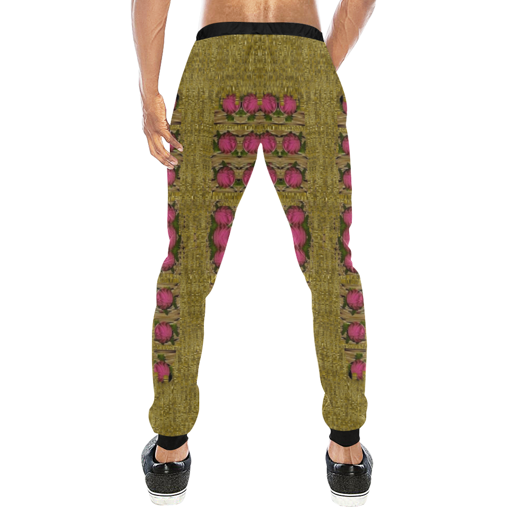 Bloom in gold shine and you shall be strong Men's All Over Print Sweatpants (Model L11)