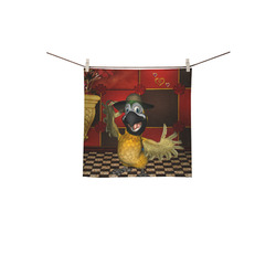 """Funny parrot with summer hat Square Towel 13""""x13"""""""