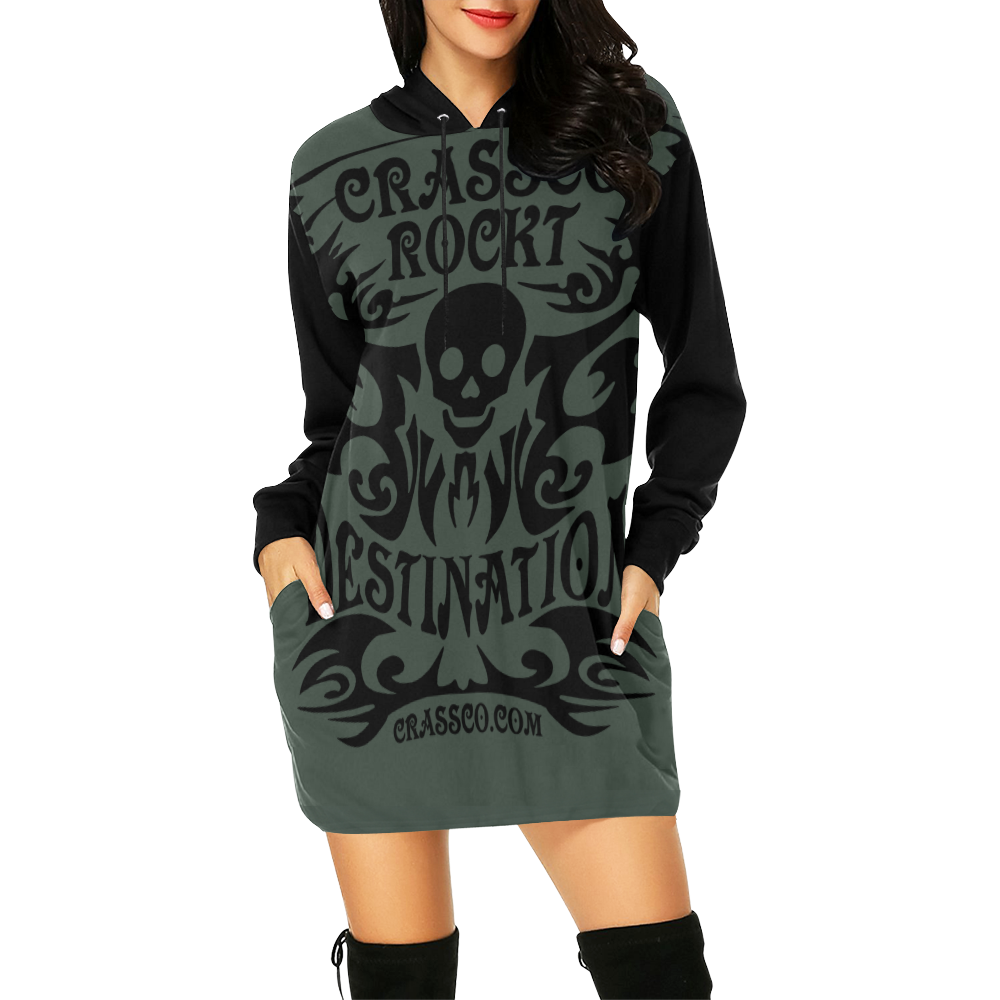 SKULL CRASSCO ROCKT III All Over Print Hoodie Mini Dress (Model H27)
