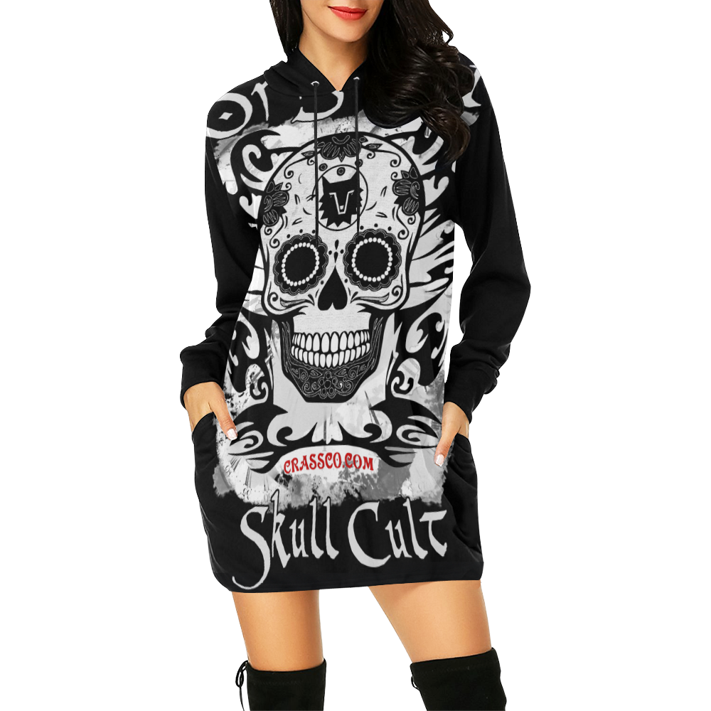 ORIGINAL SKULL CULT II All Over Print Hoodie Mini Dress (Model H27)