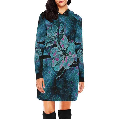 BLUE FLOWERS All Over Print Hoodie Mini Dress (Model H27)