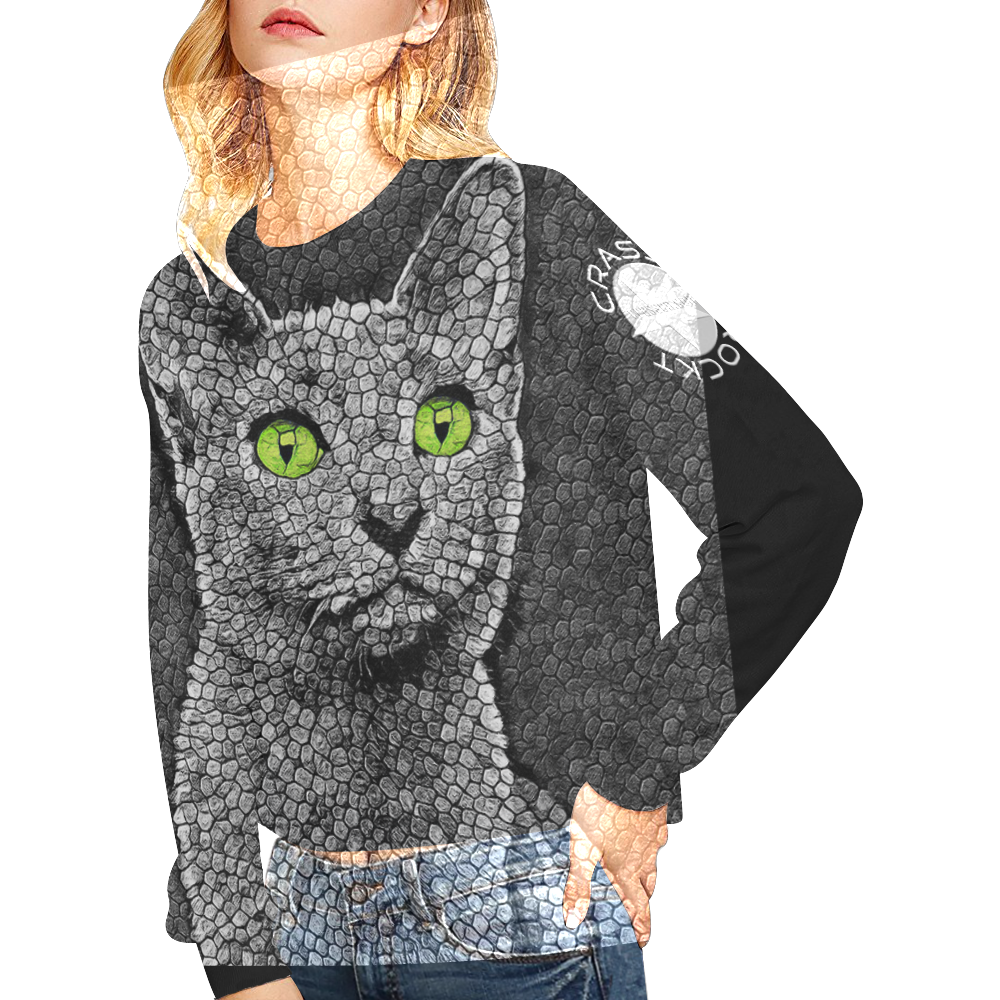 RUSSIA BLUE KITTEN Crop Pullover Sweatshirts for Women (Model H20)