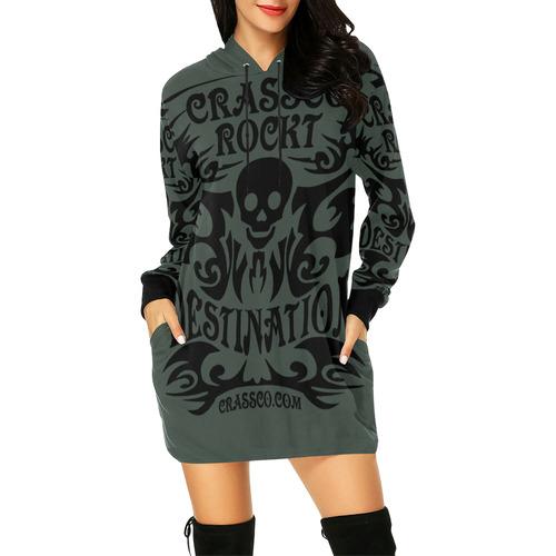 SKULL CRASSCO ROCKT All Over Print Hoodie Mini Dress (Model H27)