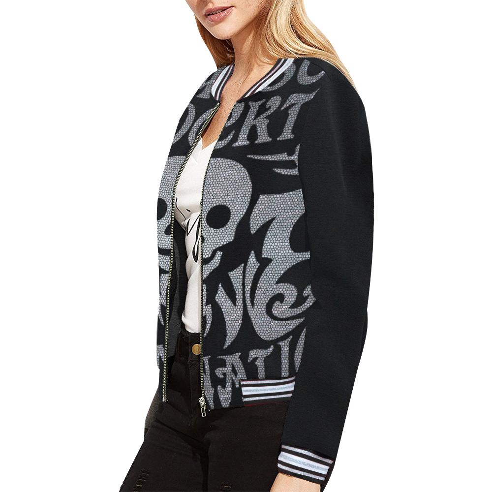 SKULL DESTINATION All Over Print Bomber Jacket for Women (Model H21)