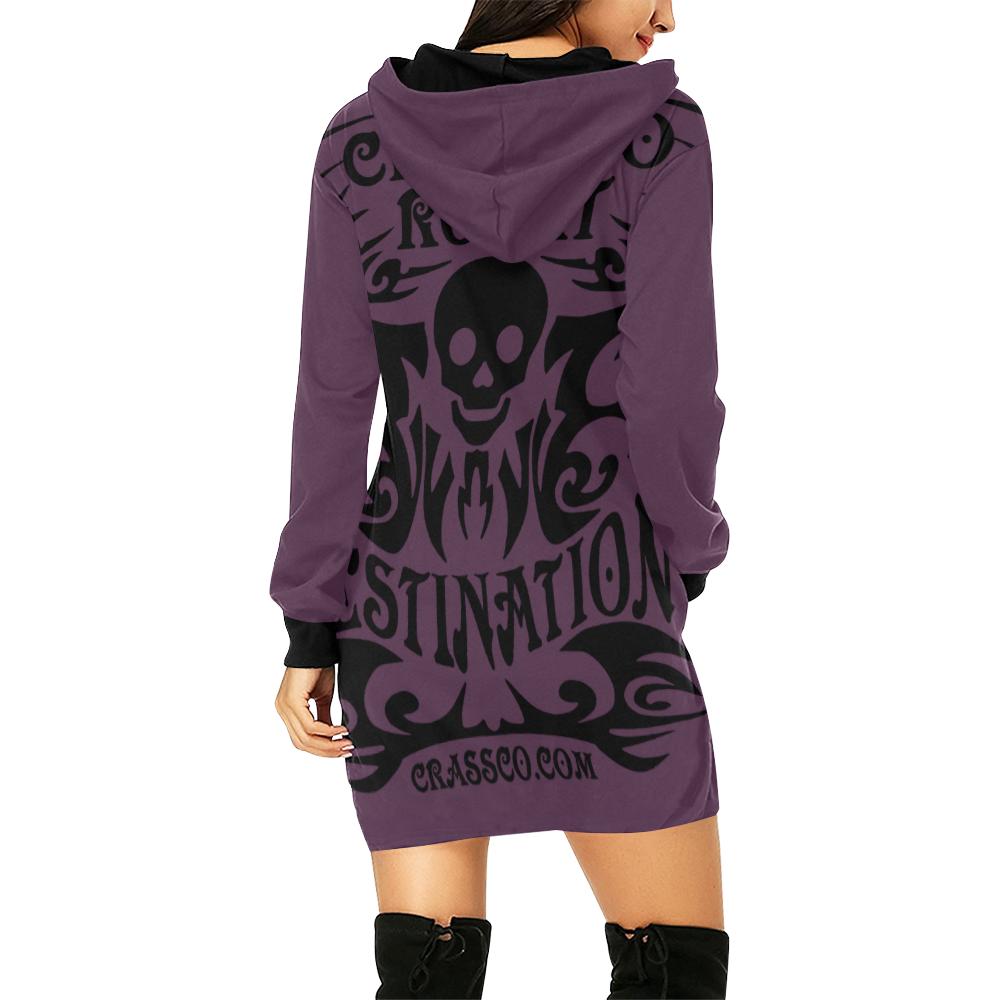 SKULL CRASSCO ROCKT IV All Over Print Hoodie Mini Dress (Model H27)