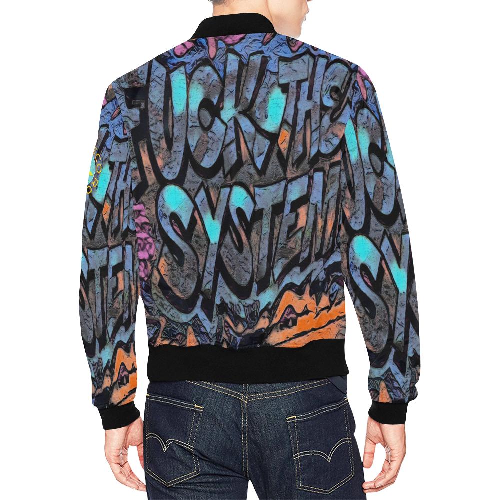 GRAFFITI FUCK THE SYSTEM All Over Print Bomber Jacket for Men (Model H19)