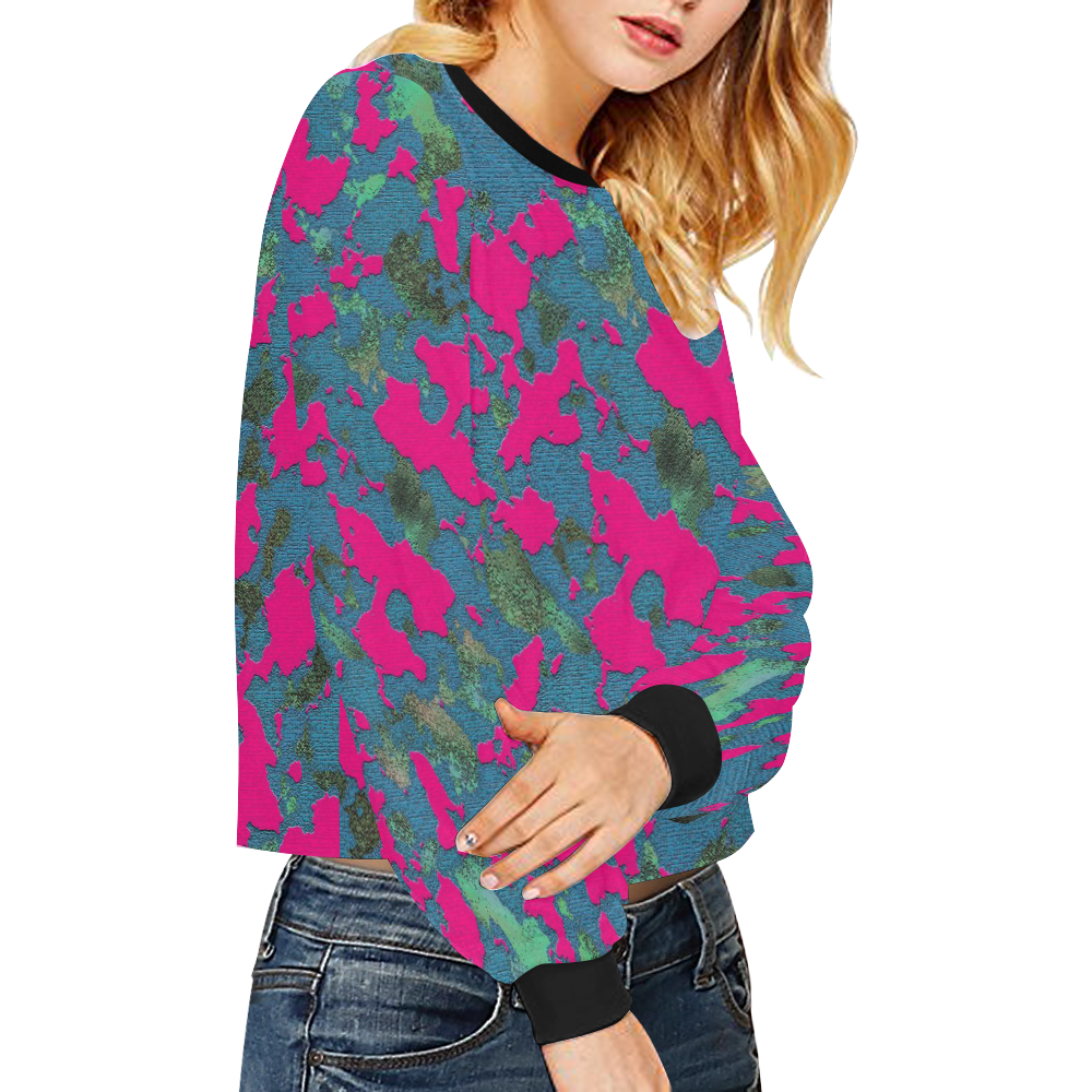 CAMOUFLAGE PINK GIRL Crop Pullover Sweatshirts for Women (Model H20)