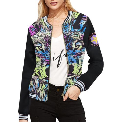 WOLF MULTICOLOR CRASSCO ROCKT All Over Print Bomber Jacket for Women (Model H21)