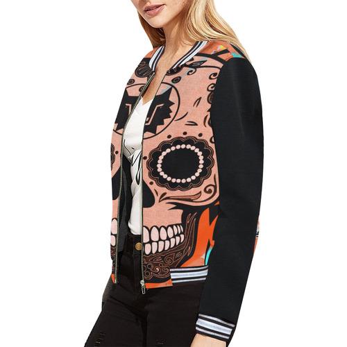 SKULL CULT ORANGE II All Over Print Bomber Jacket for Women (Model H21)