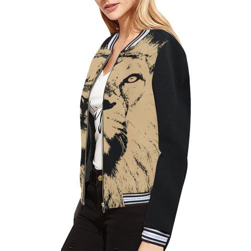 LION All Over Print Bomber Jacket for Women (Model H21)
