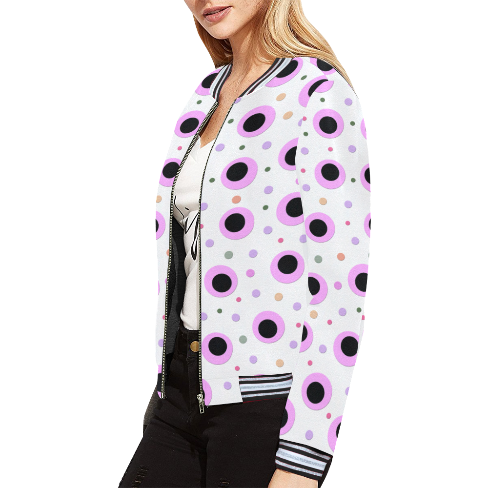 PINK AND BLACK POINTS All Over Print Bomber Jacket for Women (Model H21)