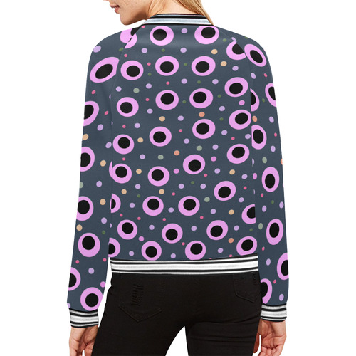 PINK AND BLACK POINTS II All Over Print Bomber Jacket for Women (Model H21)