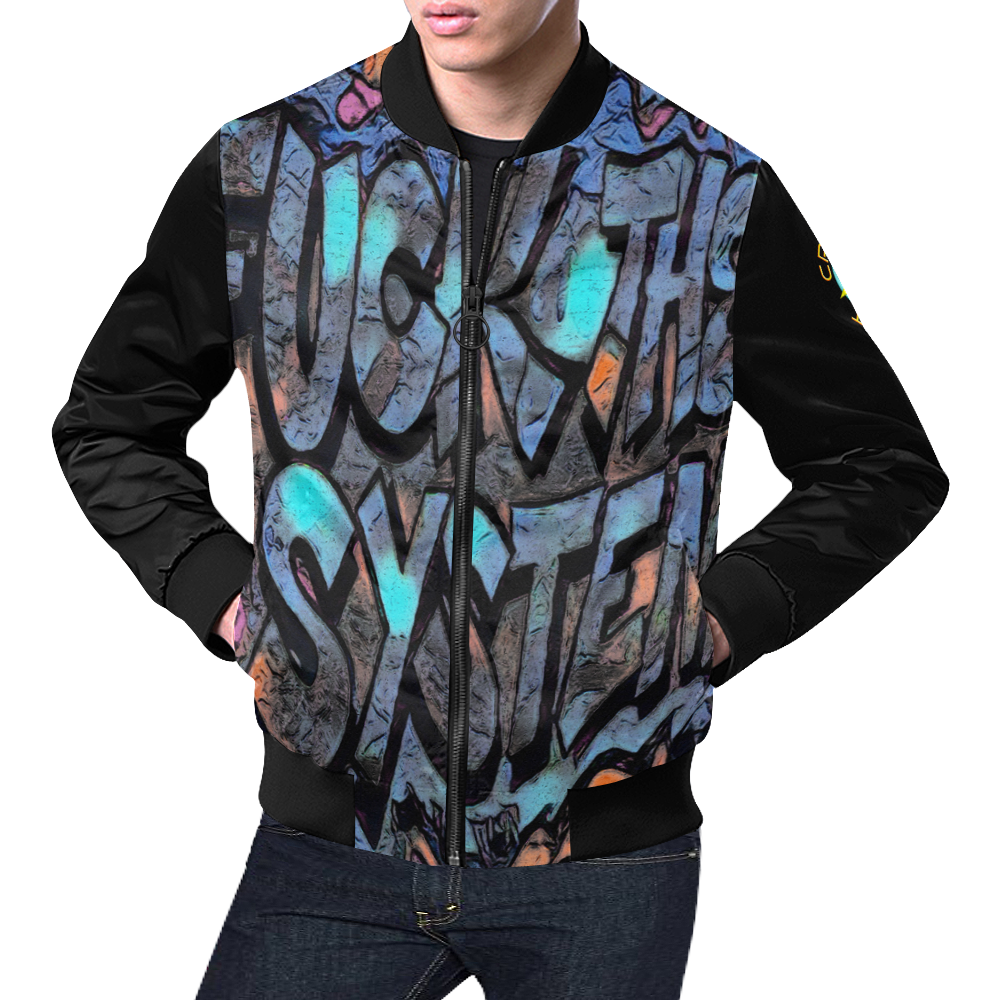 GRAFFITI FUCK THE SYSTEM II All Over Print Bomber Jacket for Men (Model H19)