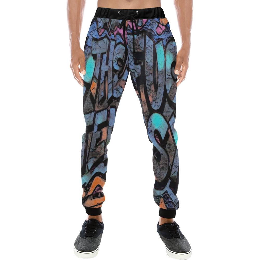 GRAFFITI FUCK THE SYSTEM Men's All Over Print Sweatpants (Model L11)