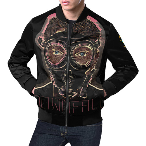 MASK INFERNO DOWNFALL All Over Print Bomber Jacket for Men (Model H19)