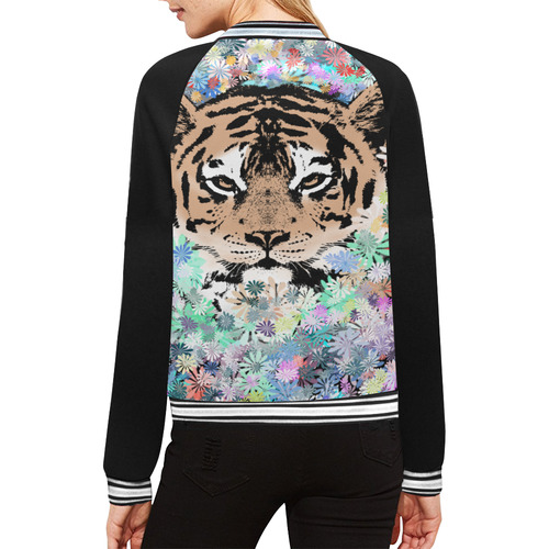 FLOWER TIGER All Over Print Bomber Jacket for Women (Model H21)