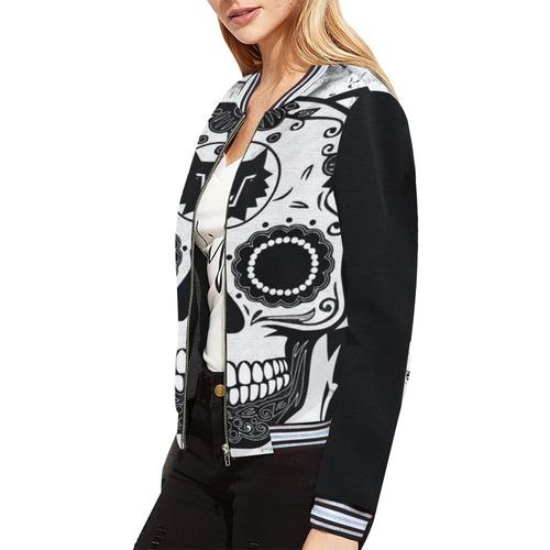 ORIGINAL SKULL CULT All Over Print Bomber Jacket for Women (Model H21)